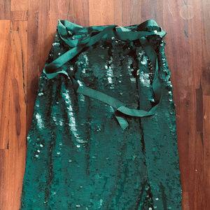 J.Crew sequin midi skirt in Academic Green